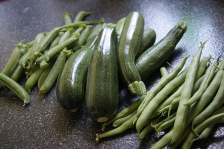 JPG image of peas, courgettes and beans