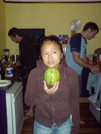 JPG image of my cousin and a tiny watermelon