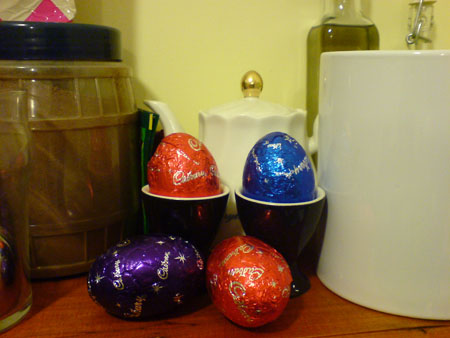 JPG image of chocolate Easter Eggs on my shelf