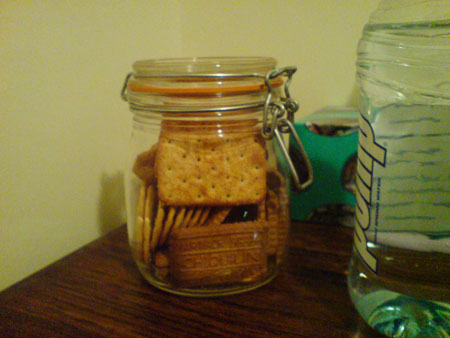 JPG image a jar of crackers on my bedside