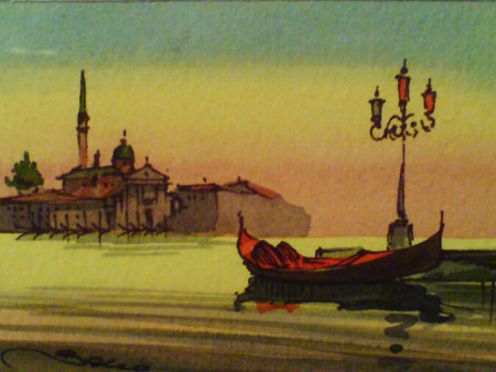 JPG image of a water colour of Venice