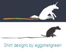 Rainbow Shuffle unicorn and Mutt Shuffle shirt design