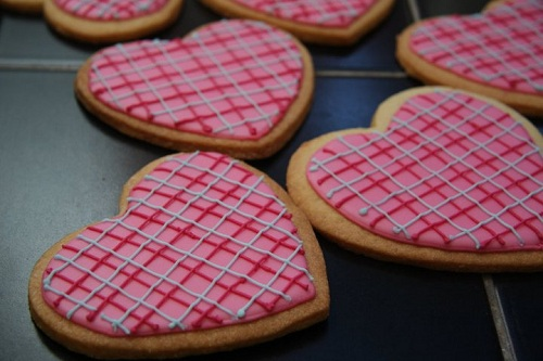 Butter cookie hearts with criss crossing