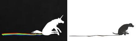Unicorn and dog doing the butt-shuffle