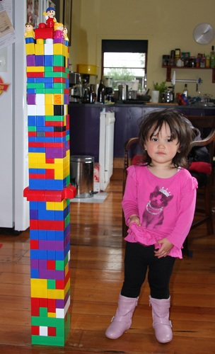 My two year old and the tower of Megabloks
