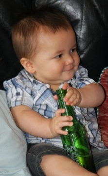 Cameron with a beer bottle