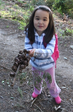 Abby holding a branch of pine cones