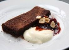 A serving of chocolate torte