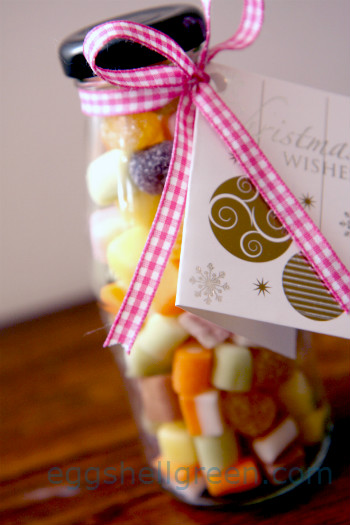 Gift of glass bottle filled with lollies