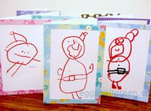 Kids' Santa drawings turned into Christmas cards
