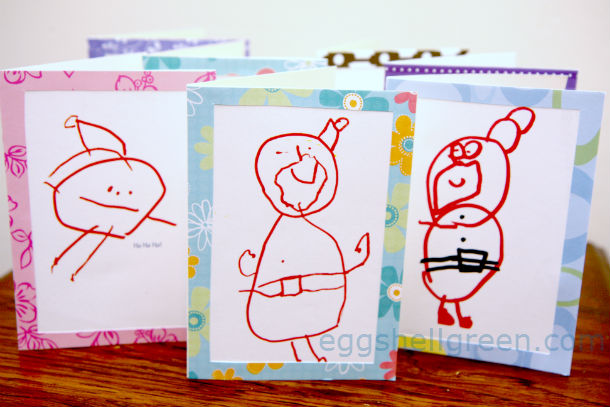 Kids' Santa drawings turned into Christmas cards