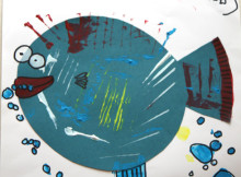 Kid's fish drawing, with card and paint