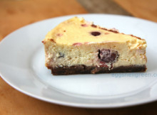 Brownie-based cherry cheesecake