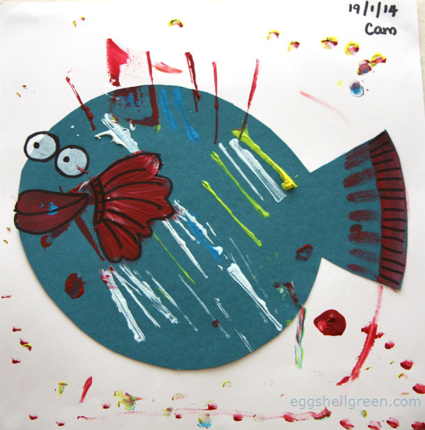 Cute kids fish painting