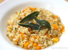 Pumpkin risotto with crispy sage