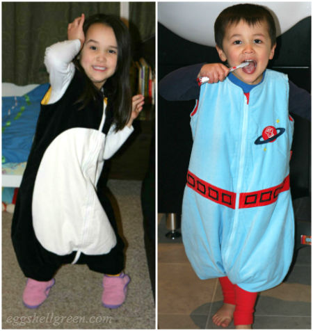 Kids in their penguinbags